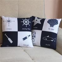 Mediterranean Cotton Hemp Blue White Coloring Starfish Shell Pattern Pillow Cushion Office Sofa Pillow Cushion Core Murals Gifts