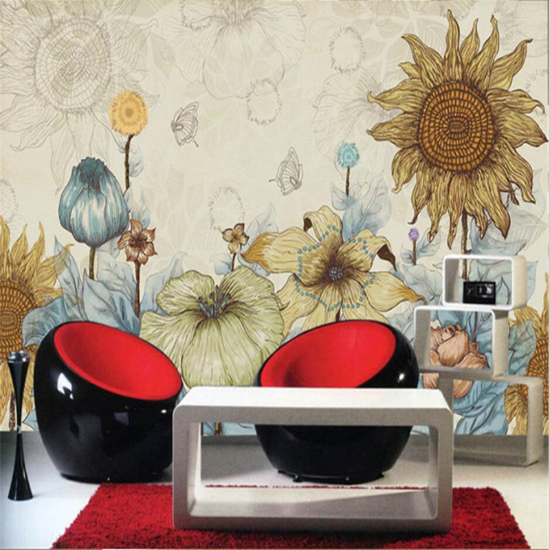 3D Large Photo Wallpaper Murals Custom Retro Hand-drawn Cartoon Sunflower Wallpaper Bedroom Hotel Living Room TV Sofa Wall Decor shinehome sunflower bloom retro wallpaper for 3d rooms walls wallpapers for 3 d living room home wall paper murals mural roll