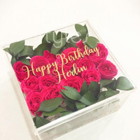 Cocostyles custom design blank elegant fresh flower acrylic gift box with gold engraving logo for garden wedding gift