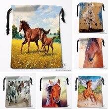 Custom Horse Colt Painting Meadow Drawstring Bags Travel Storage Mini Pouch Swim Hiking Toy Bag Size 18x22cm#0412-04-220