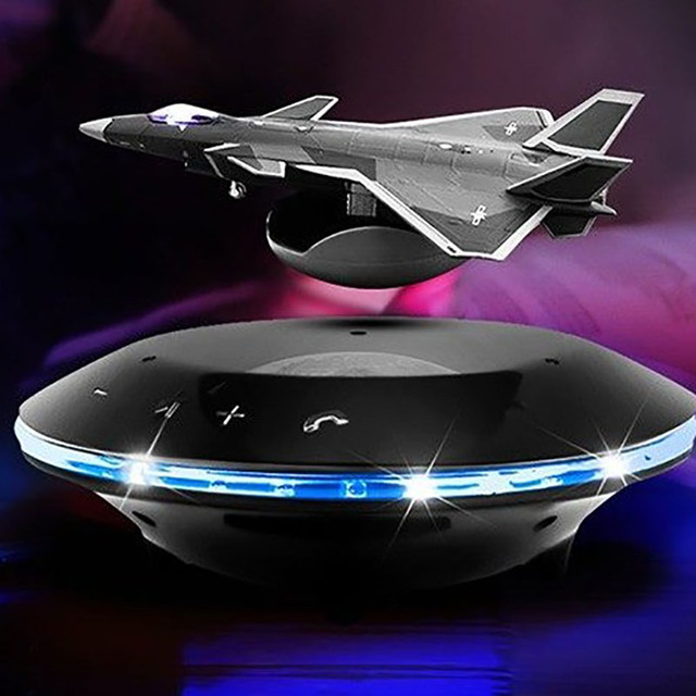 Smart Bluetooth speakers fighter style magnetic levitation design bass stereo surround sound wireless charging color LED lights