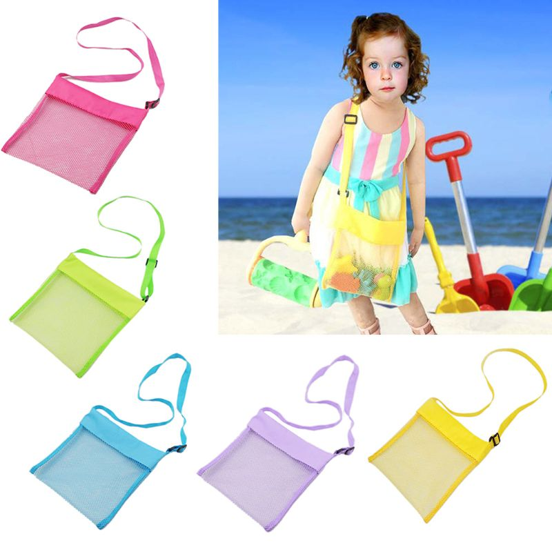 Color Children Beach Bag Girls Boys Toy Shell Conch Storage Net Bags Diagonal Small Collection Pack