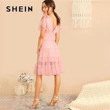 SHEIN Shoulder Knot Plunging Neck Mesh Lace Dress Women Romantic Sleeveless Deep V Neck Midi Dress A Line Pink Summer Dress