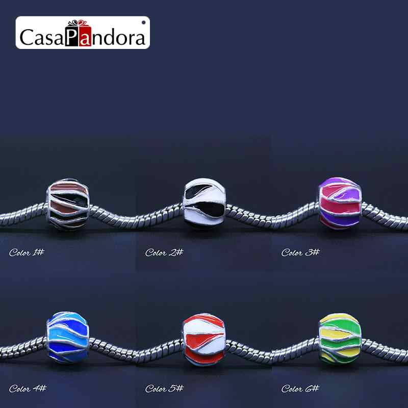 CasaPandora 6 Colors Silver-colored Colourful Brilliant Fit Bracelet Charm DIY Enamel Bead Jewelry Making Pingente Berloque
