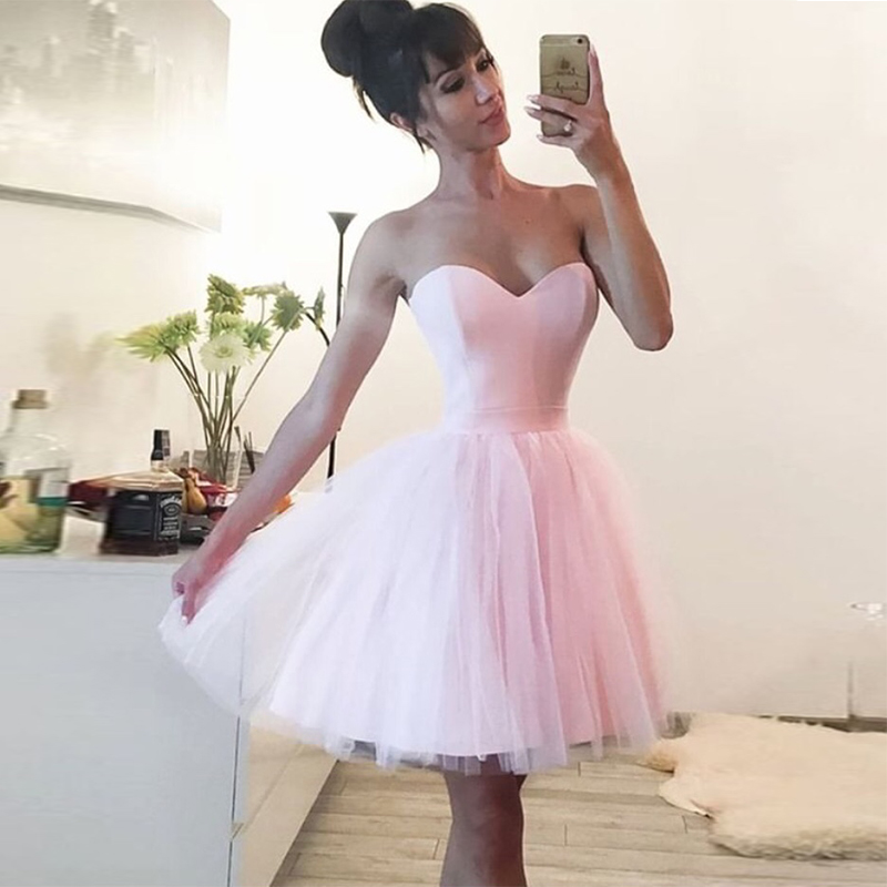 Baby Pink Sweetheart Neckline Short   Cocktail     Dresses   Lovely Tulle Skirt 2019 Simple Formal Party   Dress   Homecoming Gowns
