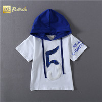 Summer new models of children's sports loose short-sleeved hooded cotton T-shirt 5 letters T-shirt casual special