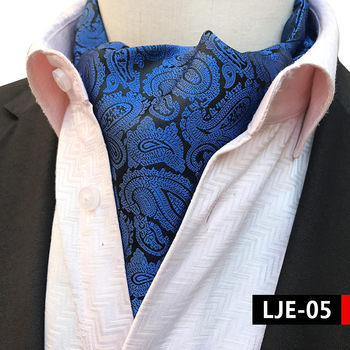 цена Men Blue Paisley Jacquard Woven Silk Cravat Necktie Formal Ascot онлайн в 2017 году