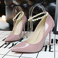 2017 sexy Women's Closed Toe Platform High Heels Pumps Pearl Chains Buckles Rubber Evening Bridal Wedding Shoes