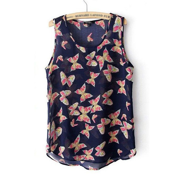 2016 new summer women's tank tops, sleeveless Butterfly print shirts for women tank tops,