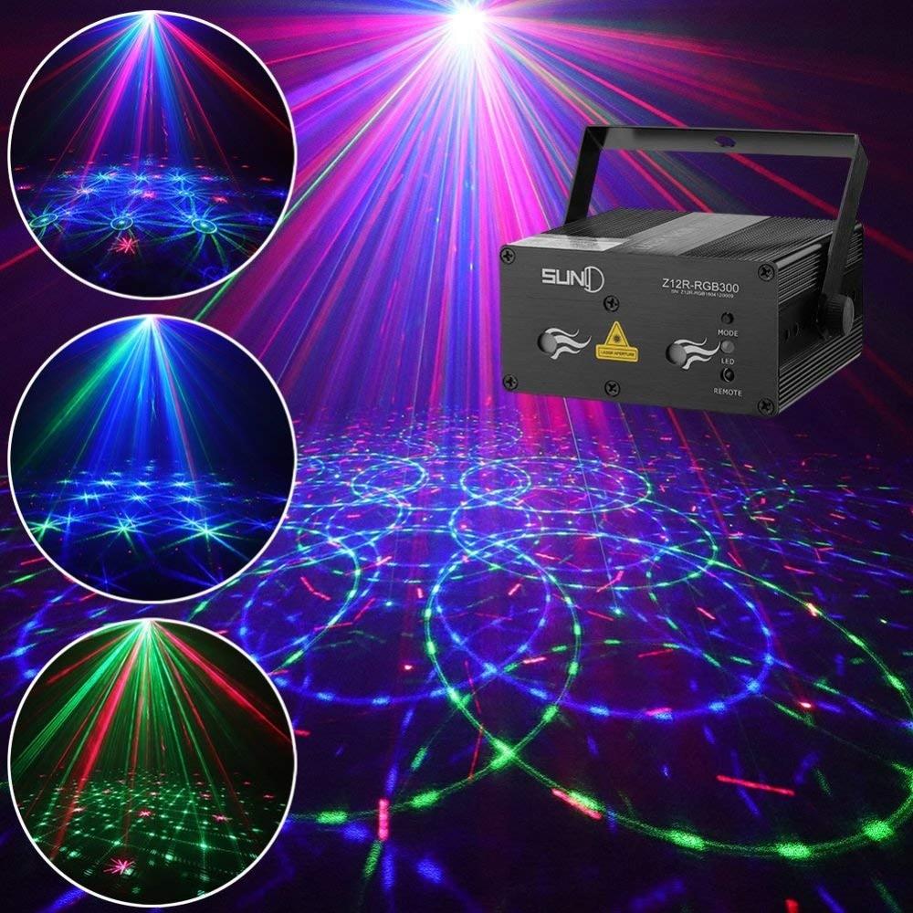 Laser Lights DJ Stage Lighting 12 Gobos Green Blue Laser Light Red Stars Mixed Effect Stage Lighting Party Music Laser Projector цены онлайн