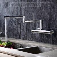 360 Rotation Kitchen Sink Faucet Single Handle Hot Cold Mixer Tap Chrome Folding Pot Filler Faucet