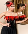 Faux Leather Black and Red Feather Overbust Corset