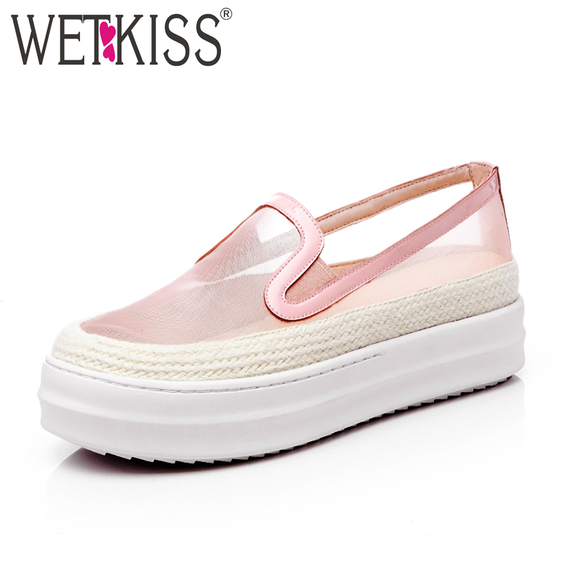 WETKISS Genuine Leather Mesh Breathable Summer Sexy Flats Women Shoes New Arrival Thick Sole Platform Loafers Flat Female Shoes елена костромина риторика