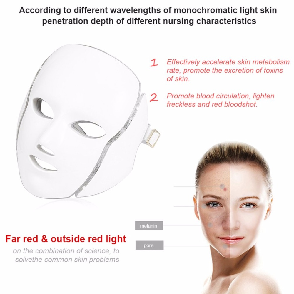Hot 7 Color Light LED Facial Mask Photon Tighten Pores Skin Rejuvenation Anti Acne Wrinkle Removal Therapy Beauty Salon ToolHot 7 Color Light LED Facial Mask Photon Tighten Pores Skin Rejuvenation Anti Acne Wrinkle Removal Therapy Beauty Salon Tool