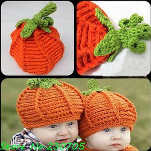 5e68c802b41 Children s Clothing Baby Halloween Pumpkin Hat Knitted Crochet Infant Caps  Halloween Costumes Newborn Photo Props free shipping-in Hats   Caps from  Mother ...