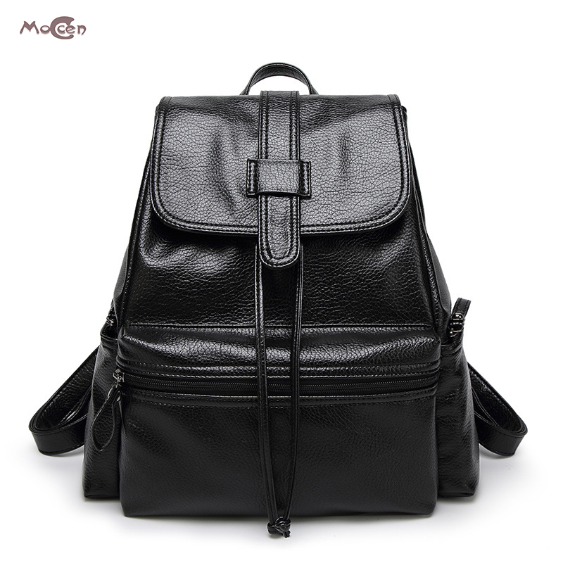 Moccen High Quality PU Leather Backpacks Fashion Bag Backpack Young Women Tote Solid Bags Cheap Small