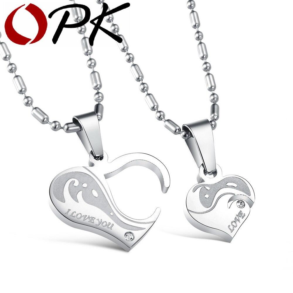 OPK cadeau romantique pour saint valentin et noël coeur Puzzle Design pendentif en acier inoxydable Vintage collier femmes hommes bijoux