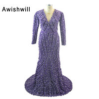 Real Photos Cheap African Purpl Long Sleeve Evening Dresses 2018 V Neck Beadings Luxury Formal Dresses