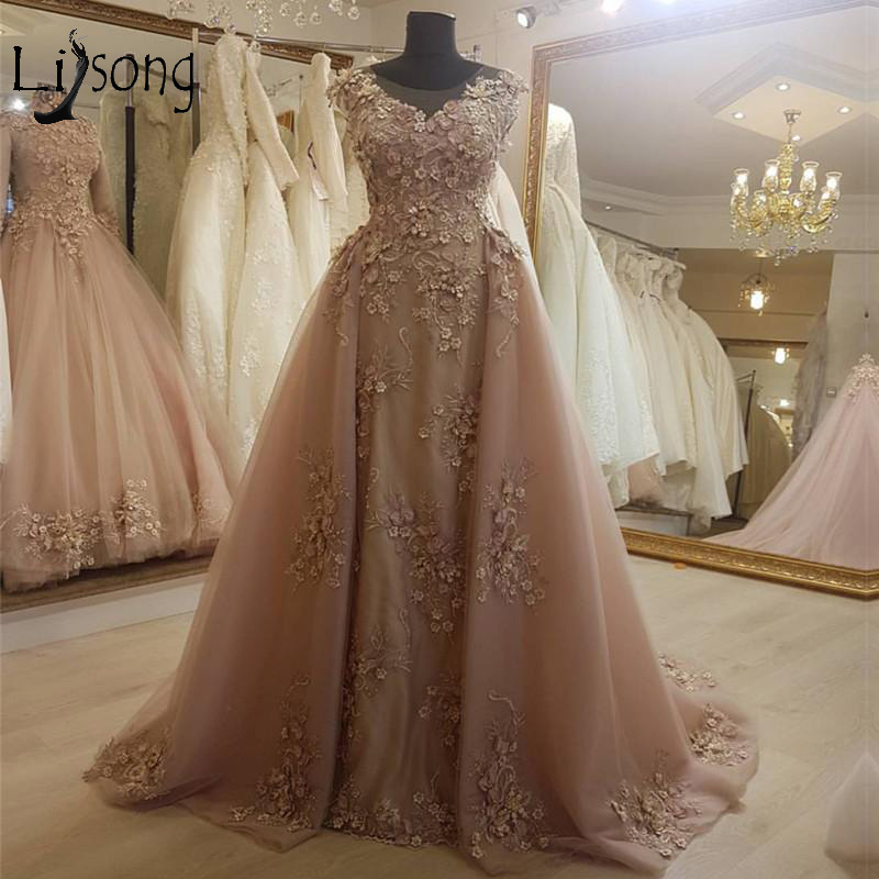 Elegant Champagne Lace Mermaid   Prom     Dresses   With Detachable Train Pretty Lace 3D Flower Long Abiye   Prom   Gowns Robe De Soiree