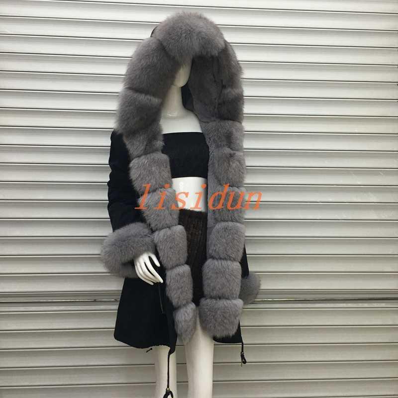 2018 abrigo de piel Real de zorro parkas chaqueta de invierno abrigo de mujer parka grande de piel de mapache real collar piel de zorro natural forro larga prendas de vestir exteriores