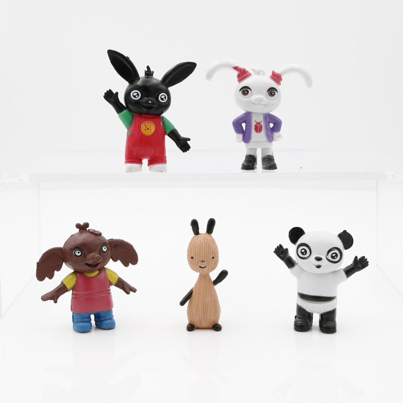 Original 5pcs Bing Action Figur Toy Sula Flop Hoppity Voosh Pando Bing Bunny Rabbits Peluche Dolls Toys Children Plush Toys