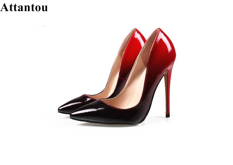 Top Quality Women High Heel Wedding Shoes Black/Red Patent Leather Slip-on Pumps Sexy Pointed Toe Stiletto High Heel Dress Shoes vintage big bowtie women shoes bright color high quality patent pu leather low heel shallow slip on shoes woman xwd3767