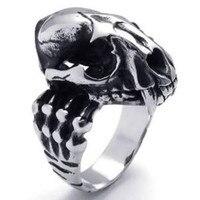 Stainless Steel Gothic Dinosaur Skull Biker Men S Ring Color Silver Black