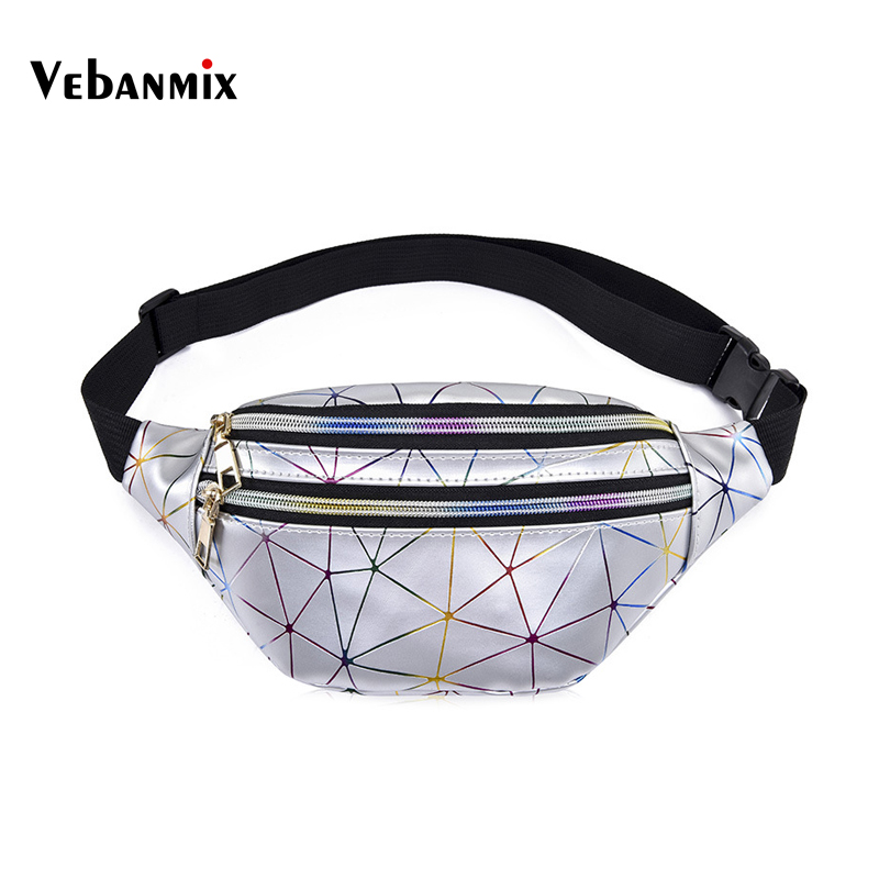 Waist Bag Women Holographic Black Fanny Packs Reflective Laser Shoulder Bag Women's Belt Waist Bag Pochete Geometric Waist Pack