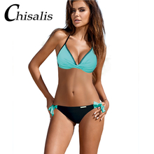 Sexy Push Up Bikini 2019 Women Print Swimwear Beach Halter Top Bikini Set Solid Swimsuit Bandage Summer Bathing Suit Biquinis