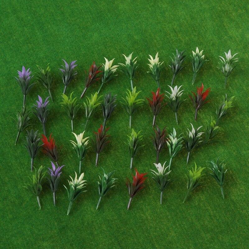 100pcs Plastic 1:100 HO Scale Flower Grass Mix Colors Model Trains Layout Railway Wholesale Kids Educational Toys-M20