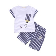 Newborn Baby Boy Clothes Summer Cartoon New Baby Boy Girl Clothing Set Cotton Girls Clothing Baby Clothes tshirt+short Pant No,6