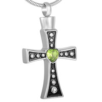 IJD8319 316L Stainless Steel Jewelry Wholesale or Retail,New Design Green Crystal Cross Memorial Urn Necklace Cremation Pendants