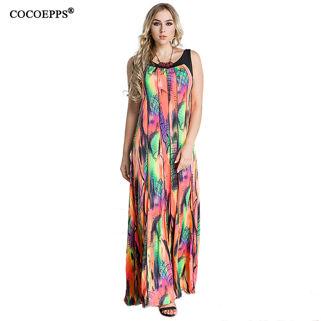 3b1a268d148 6xl 7xl 8xl 2018 Women Floral Print Plus Size Tank Dress Large size O-neck  Backless Maxi Dress sexy Women Long Sundress clothing