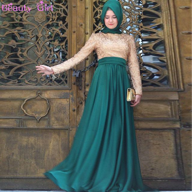 e5d704e7a68 Longue Robe soirée musulmane une ligne O Neck Top à paillettes plissée  taille Zipper retour en