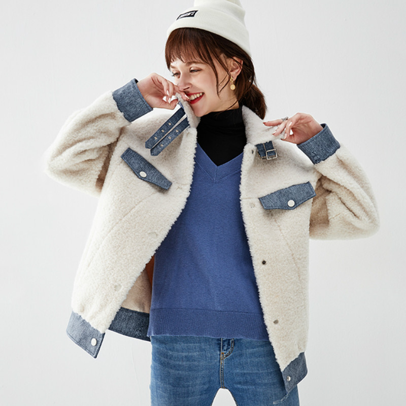 Real Fur Coat Streetwear Korean Vintage 100% Wool Jacket Autumn Winter Coat Women Clothes 2019 Sheep Shealring Abrigo Mujer 3344