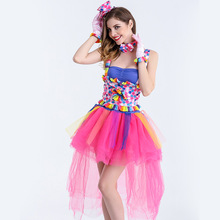 Free shipping 2018 Halloween new multi color princess dress circus clown cos costume Halloween stage costume for women JQ-1152