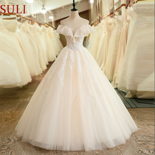SuLi SL-6037 Off the Shoulder Short Sleeve Wedding Dress