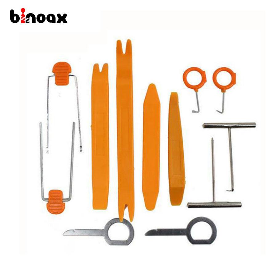 Binoax 12 Pcs/SeT Plastic Car Radio Door Clip Panel Trim Dash Audio Removal Pry Tool Repairing car door lock cap removal tool