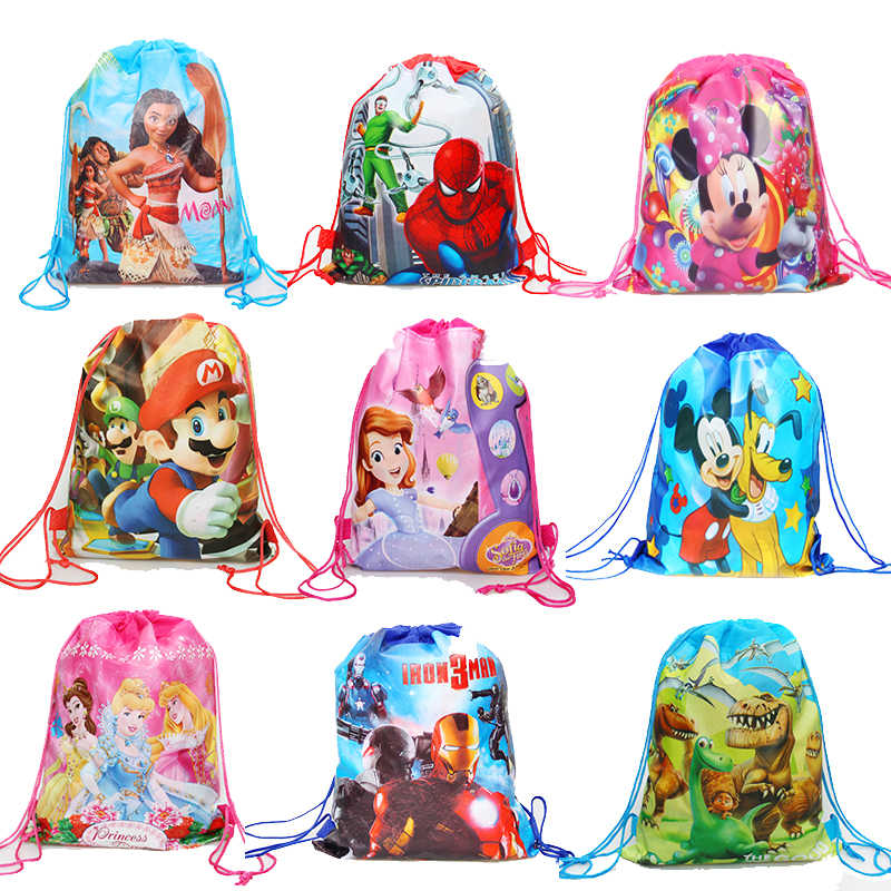 1pcs Anime Printing Minnie mickey non-woven bag fabric backpack  child travel school bag decoration drawstring gift bag for girl