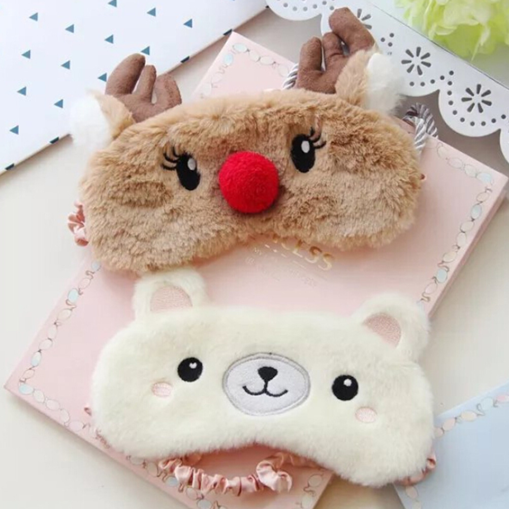 Cute Animal Eye Cover Sleeping Mask Eyepatch Bandage Blindfold Christmas Deer Winter Cartoon Nap Eye Shade Plush Sleeping Mask cute animal eye cover sleeping mask eyepatch bandage blindfold christmas deer winter cartoon nap eye shade plush sleeping mask