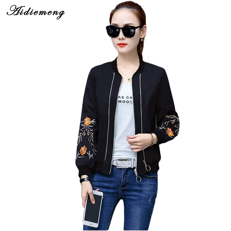 Women Casual Bomber   Jacket   Coat Autumn Winter Windbreaker Tops Fashion Stand Collar   Basic     Jackets   Slim Zipper Coats Embroidery