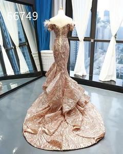 Image 2 - Rsm66749 brilhante sereia vestido de casamento convidado fora do ombro querida rendas até voltar trompete vestido de noite com trem abendkleid
