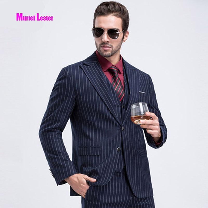 85dc674f11 Muriel Lester 2018 3 Piece Men Suits Navy Stripe Mens Blazer Slim Fit Wedding  Suit for men Male Groom Tuxedos ...