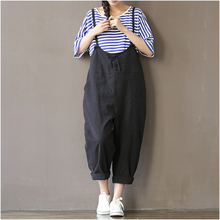 Women Pants Black Beige Color Loose Waist Cross Pants Cotton Trousers Plus Size M~XXXL Bandage Trousers Rompers Wide Leg Pants