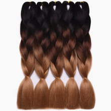 Feilimei Brown Braiding Hair Extensions Synthetic jumbo Braids 24″(60cm) 100g/pc Two/Three Toned Ombre Crochet Hair Bulk Bundles
