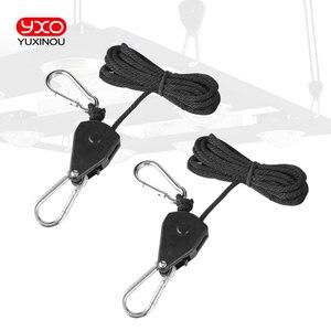 "Image 3 - Useful Adjustable 1 Pair 2 PCS 1/8"" Rope Ratchet Lights Lifters Reflector Led Grow Light Hangers Zinc Alloy Hook Plastic Pulley"