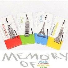 40ชิ้น/ล็อตอาคารยุโรปนักเรียนB Ookmarkหน่วยความจำของลอนดอน/ปารีส/นิวยอร์ก/ปิซาหน่วยความจำการเดินทางสำนักงานเครื่องเขียน