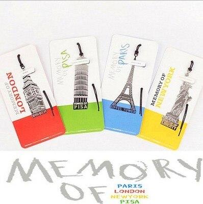 40PCS/LOT European Building Students Bookmark Memory Of London/Paris/New York/Pisa Travel Memory Office Stationery