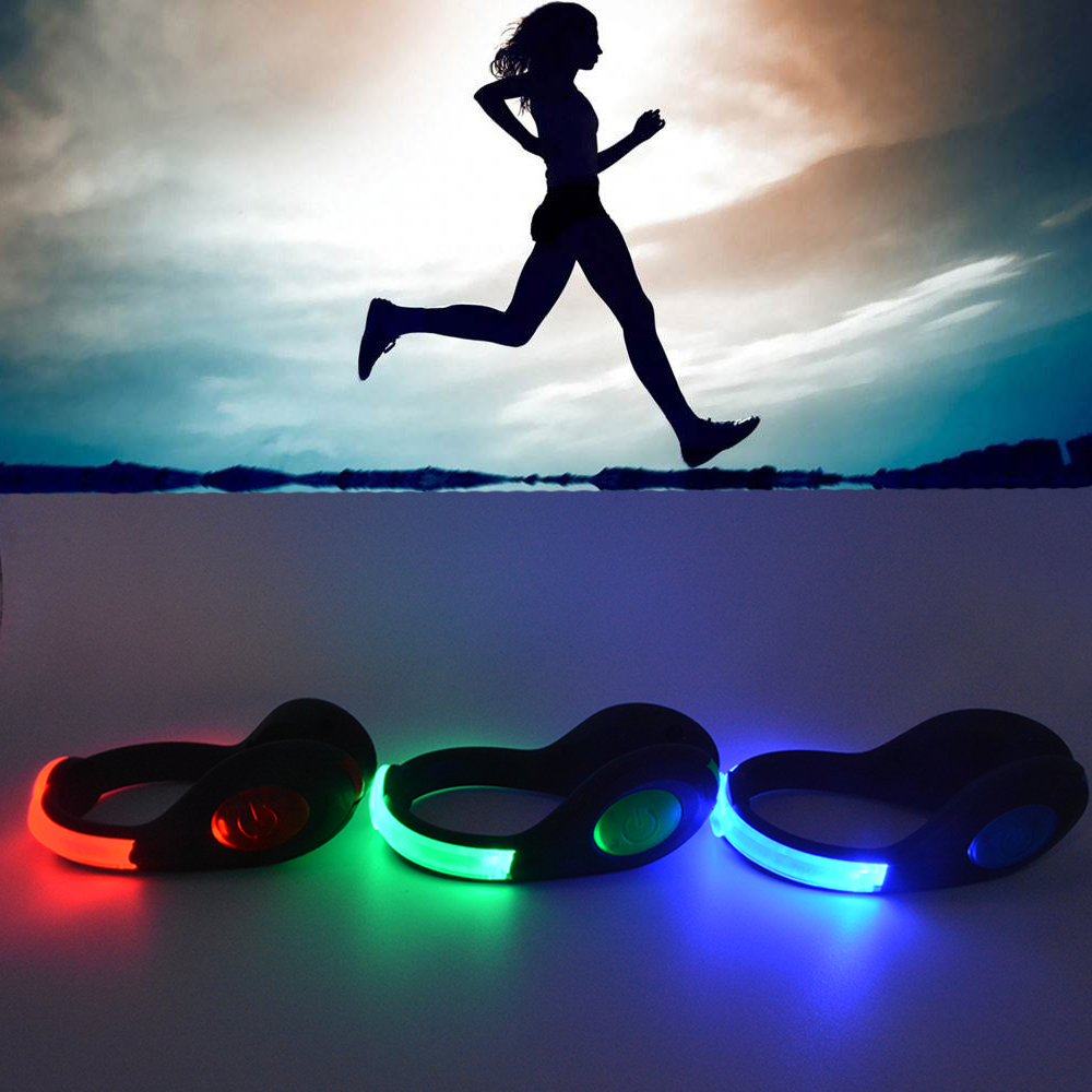 Outdoor Novelty Lamps LED Luminous Safety Night Running Shoe Clips Cycling Sports Warning Lamp Safety USB Chargeable Flahlight