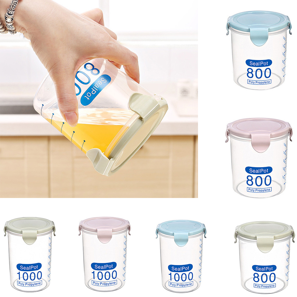 Buckle Transparent PP Plastic Sealed Cans Cereal Round Storage Tank Holders Containers Kitchen image